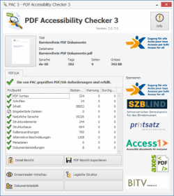 Bildschirmfoto des PDF Accessibility Checkers (PAC)